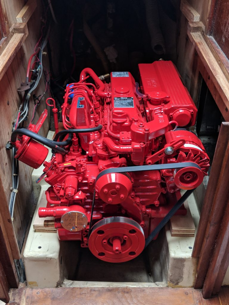 Beta Marine 43 dry-fit on engine bed.